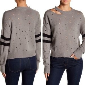 Planet Gold Distressed Knit Sweater